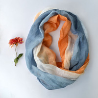 Blue and Orange Linen Scarf - Pure Linen Scarf - Long Linen Scarf - Infinity Scarf - Gift - Chunky Linen Scarf - Summer Beach Wedding Scarf
