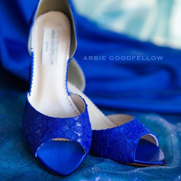 Wedding Shoes - Sapphire Blue Shoes - Lace Wedding Shoes - Peep Toe - Bespoke Shoes - Custom Shoes - Arbie Goodfellow Shoes - Parisxox Shoes