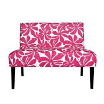 Portfolio Niles Pink Floral Armless Settee | Overstock.com