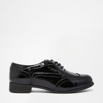 London Rebel Barnaby Lace Up Brogues - Black patent