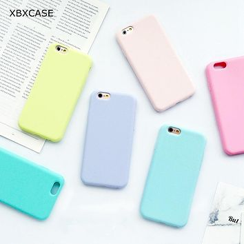 XBXCase Macarons Color TPU Silicone Matte Case for iPhone 6 6S Plus 5 5S SE Soft Back Cover for iPhone 7 8 7Plus X Xs Max XR