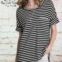 Basic Striped Pocket Tee - Black (Ladies)