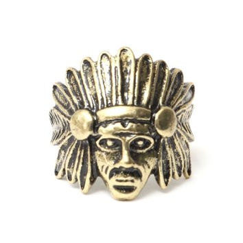 Indian Chief Ring Size 6 Native American Warrior RA44 Vintage Gold Tone Statement Fashion Jewelry