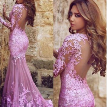 SEXY BACKLESS PURPLE LACE LONG DRESS