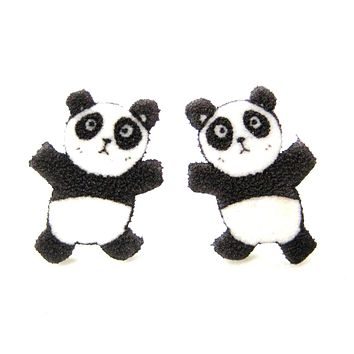 Panda Bear Animal Cartoon Illustration Stud Earrings | Handmade Shrink Plastic