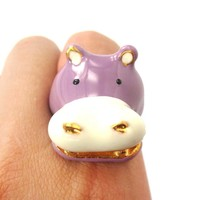 Adorable Hippo Hippopotamus Shaped Enamel Animal Ring in Purple | US Size 6 and 7 | Limited Edition