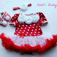 SALE...Red polka dots Onesuit set...baby girl romper...polka dots romper.