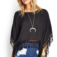 Crochet Fringed Poncho Top