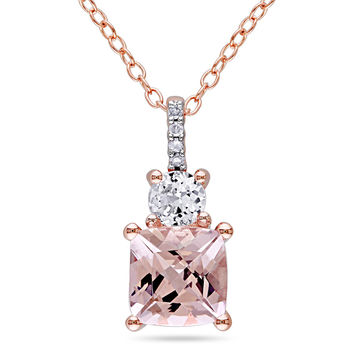Cushion-Cut Morganite, Lab-Created White Sapphire and Diamond Accent Pendant in Rose Rhodium Plated Sterling Silver