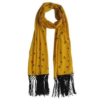 Lace and Sequin; Embroidered Long Beach Scarves : Mustard