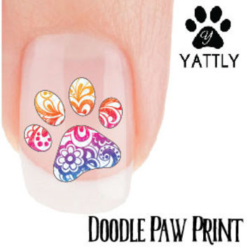 Doodle Paw Print - Nail Art Decals (Now! 50% more FREE)