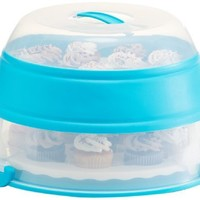 Prepworks by Progressive Collapsible Cupcake and Cake Carrier, Teal - in Amazon Frustration Free Packaging