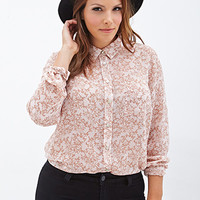 FOREVER 21 PLUS Leaf Print Button-Down Shirt Peach/Tan