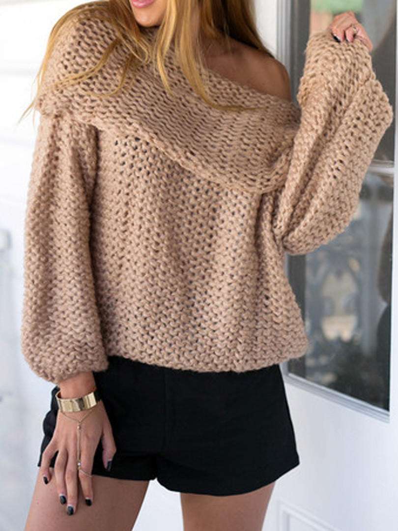 Khaki Off Shoulder Chunky Long Sleeve from Midnight Bandit | Epic
