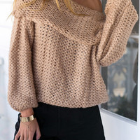 Off Shoulder Chunky Long Sleeve Knitted Sweater