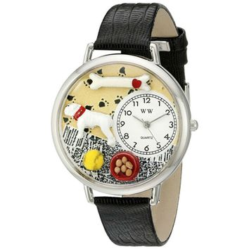 SheilaShrubs.com: Unisex Bulldog Black Skin Leather Watch U-0130018 by Whimsical Watches: Watches