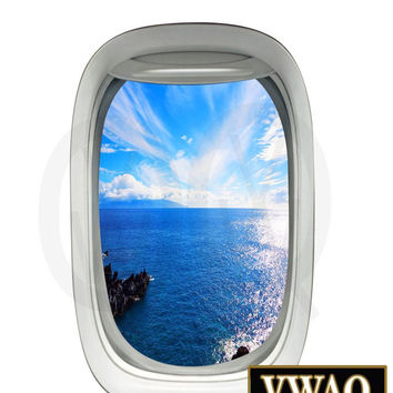 Aerial View Ocean Airplane Decal Vinyl Decal View Mural Peel and Stick Aviation Decor VWAQ-PW16