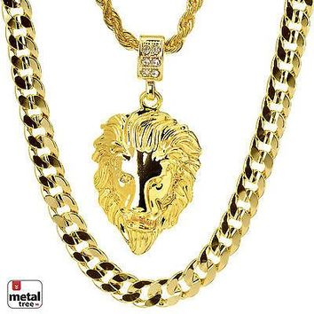 """Jewelry Kay style Men's LION HEAD Pendant 22"""" Rope & 30"""" Concave Cuban Heavy Chain MHC 28 G"""