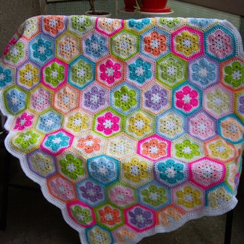 ON SALE - 10% OFF Granny Square Crochet Blanket...Baby Crib Blanket...Colorful Knitting Patchwork Baby Afghan...