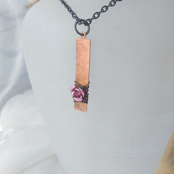 Small Layering rustic rose copper necklace, copper tag, pink rose, wire wrapped pendant necklace.
