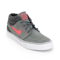 Nike SB Zoom Stefan Janoski Mid Grey, Anthracite, & Hyper Red Suede Skate Shoe at Zumiez : PDP