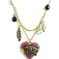 "Betsey Johnson ""Flights of Fancy"" Love Heart and Feather 2-Row Necklace"
