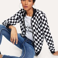 Jbellan Zip Front Plaid Jacket