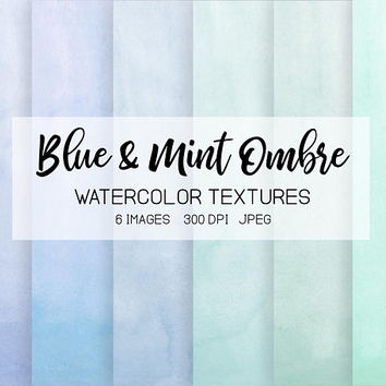 Mint Watercolor Ombre Digital Paper. Handpainted Blue, Green Watercolor Textures. Teal, Mint Watercolor Wedding Invitations, Greeting Cards