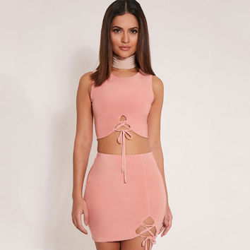Pink Cross Strap Sleeveless Top with Skirt Set