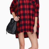 Red Black Buffalo Plaid Long Sleeve Button Front High Low Shirt