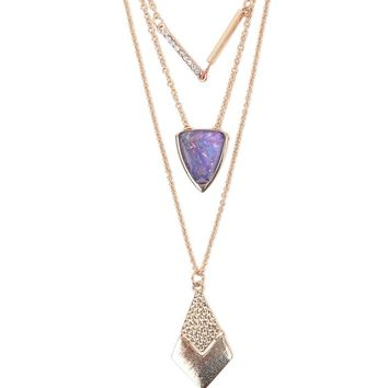 With Love From CA Stone Triple Layer Necklace - Womens Jewelry - Gold - NOSZ