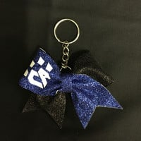 Blue and Black Keychain Bow