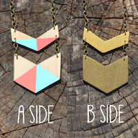 Reversible Chevron Necklace, Geometric Pastel / 2-Tone Gold