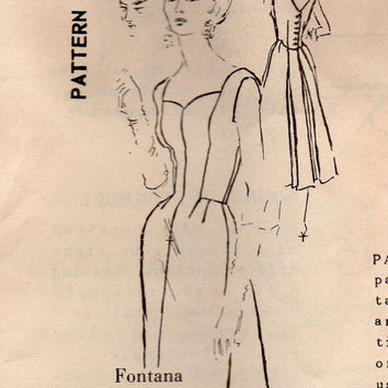 1950s International Designer Fontana of Italy Spadea Sewing Pattern Fitted Dress Sweetheart Neckline Fitted Bodice Skirt Back Flare Bust 34