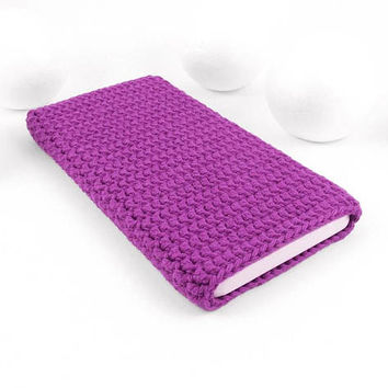 Purple Google Pixel 2 sleeve, Samsung S8 cozy, vegan iPhone 8 cover, Moto X4 case, cotton Xiaomi Mi 6 cozy, Xperia XZ1 pouch, Nokia 8 sock