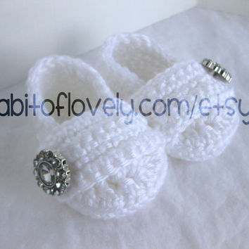 Easter Baby Girl Infant Shoes / Slippers / Booties - White & Jewel - YOUR choice size - (newborn - 12 months) - photo prop - clothing
