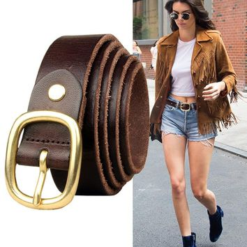 Handmade Copper Buckle Leather Belt [2974245022]