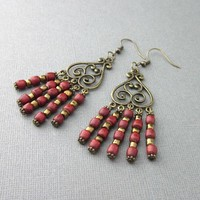 Antiqued Bronze Brick Red Wood Bead Long Chandelier Earrings Five Loop