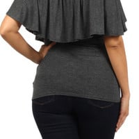 Plus Size Dark Gray Layered Top