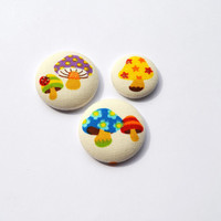 Mushrooms and Ladybug Magnet Set - Spring - Summer - Stars - School - Office Supplies - Polka Dot - Red - Blue - Yellow - Green - Purple