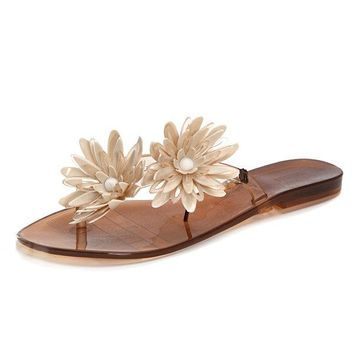 Flower Flip Flops Jelly Clip Toe Flat Casual Slippers