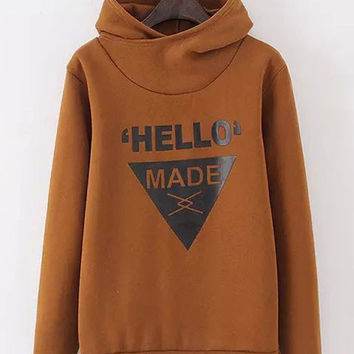 Graphic Print Hooded Sweater