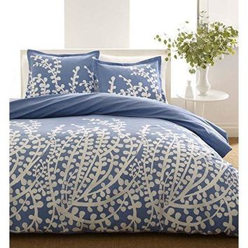 Full / Queen 100-Percent Cotton 3-Piece Comforter Set with Blue White Floral Branch Pattern