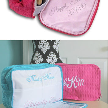 Monogram 2 Compartment Cosmetic Bag Sets Custom Embroidery  Wedding Party Gift Bride, Maid Of Honor, Bridesmaid Gift