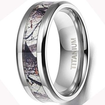CERTIFIED 6mm/8mm Titanium Ring Wedding Band Camouflage Deer Antler Comfort Fit