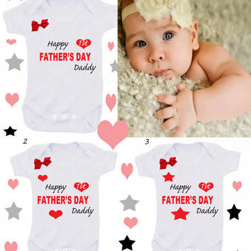Happy father's day bodysuit WITH RED BOW