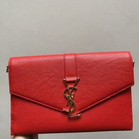 Red Leather Clutch Bag With Chain YSL