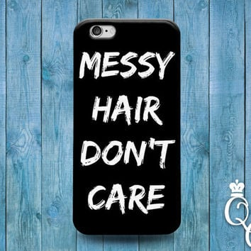 iPhone 4 4s 5 5s 5c 6 6s plus + iPod Touch 4th 5th 6th Gen Cute Black White Messy Hair Girly Girl Beach Funny Fun Phone Cover Fun Quote Case