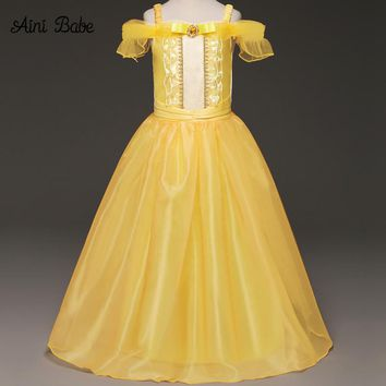 Girl Cartoon Fancy Dress Kid Yellow Off-Shoulder Princess Party Dress Beauty and The Beast Cosplay Costume Kids Long Dress