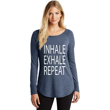 Inhale Exhale Repeat Triblend Long Sleeve Tunic Yoga Shirt